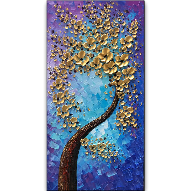 3D Blossom Trees Handmade Abstract Wall Art Landscape Oil Paintings Canvas with Frames for Bedroom