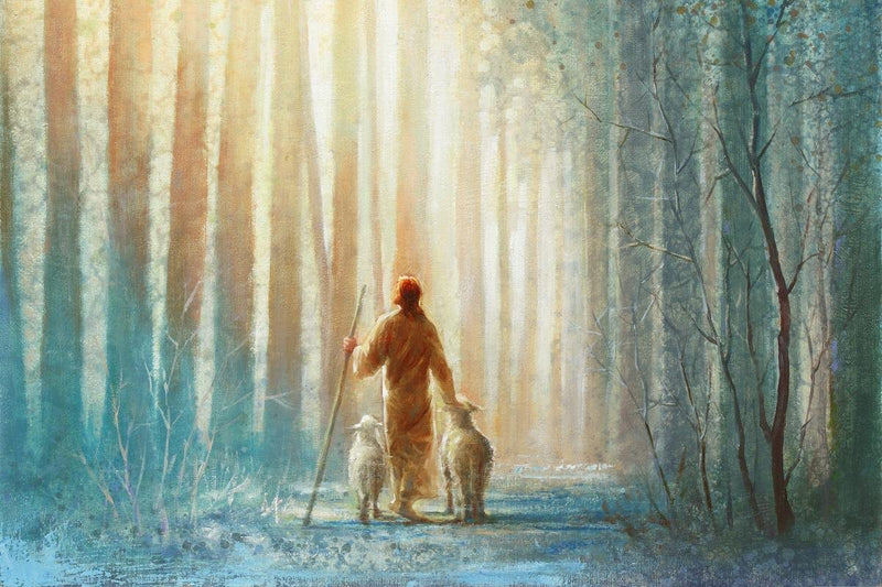Walking With Two Lambs In A Forest Of Tall Trees oil painting