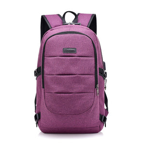 Backpack Charger Headphones Lockout Anti-theft Korean Edition Large Capacity Computer Backpack-purple
