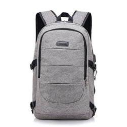 Backpack Charger Headphones Lockout Anti-theft Korean Edition Large Capacity Computer Backpack-Gray
