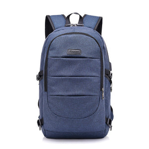 Backpack Charger Headphones Lockout Anti-theft Korean Edition Large Capacity Computer Backpack-blue