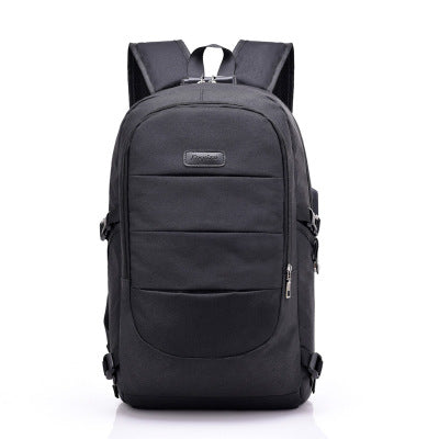 Backpack Charger Headphones Lockout Anti-theft Korean Edition Large Capacity Computer Backpack-black