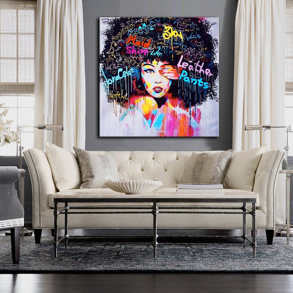 African American Canvas Bedroom Decor Wall Art Canvas Painting Graffiti Abstract Style Poster Print Painting