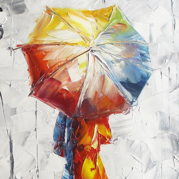 "Wooden Framed Wall Art Oil Painting On Canvas""lady under the umbrella"" Living Room Decor Stretched ready to Hang HD Prints on Canvas Art 12x16 inch(30x40cm)1pc"