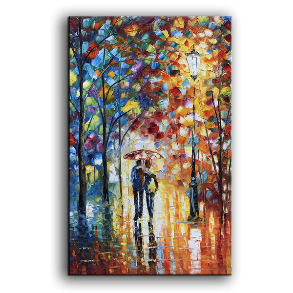 Art Landscape Oil Painting on Canvas Lover Rain Street Tree Lamp