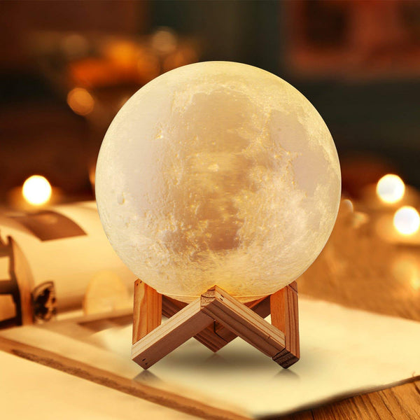 22cm Large Ramadan Moon Light, 3D Printing Moon Lamp with Touch