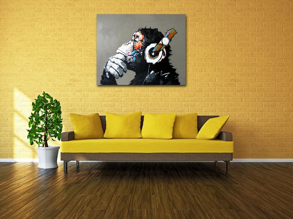 Monkey Listening to Music Oil Paintings Hand Painted Huge Wall Art for Living Room Stretched Ready to Hang XL