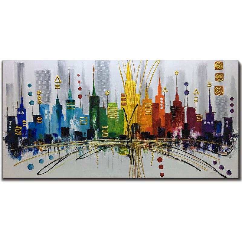 Oil Painting Landscape 3D Hand-Painted On Canvas Abstract Artwork Art Wood Inside Framed Hanging Wall Decoration Abstract Painting (DF007)