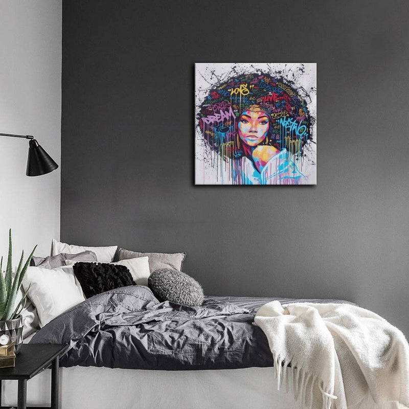 African American Canvas Bedroom Decor Wall Art Canvas Painting Graffiti Abstract Style Poster Print Painting Decoration Living Room Simple Framed Ready to Hang