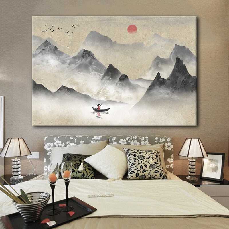 Chinese Ink Painting Style Landscape with Mountains and River with The Rising Sun - Giclee Print Gallery Wrap Modern Home Decor