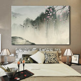 Landscape in Spring with Birds and Cherry Blossom - Giclee Print Gallery Wrap Modern Home Decor