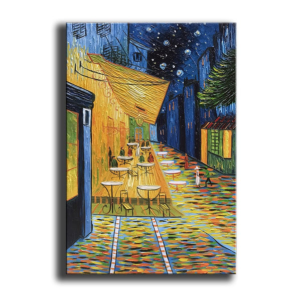 Cafe Terrace at Night by Van Gogh Famous Oil Paintings Reproduction Artwork Modern Hand-Painted Landscape Art Pictures