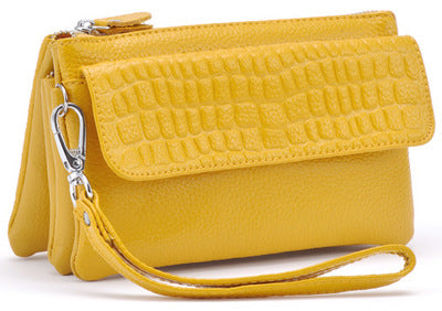 2019 spring and summer new crocodile leather diagonal mini bag - yellow