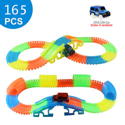 Magical Glowing Flexible Track Car Children Racing Bend Rail Track Led Flash Light Car DIY Toy Gift