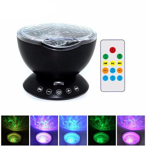 Remote Control colorful Ocean Wave Projector romantic seaworld light multi-function Mini Speaker