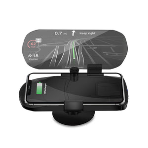 HUD Wireless Charger and Head UP Display - Mobile Phone GPS Navigation Image Reflector Holder