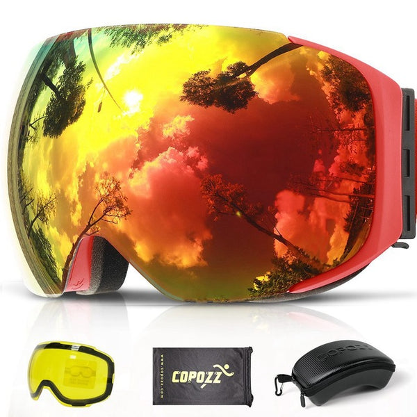 COPOZZ Magnetic Ski Goggles with 2s Quick-change Lens and Case Set UV400 Protection Anti-fog Snowboard Ski Glasses for Men Women