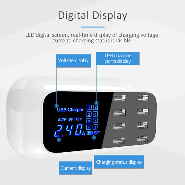 8-Ports and USB Connectors Smart Charger LED display