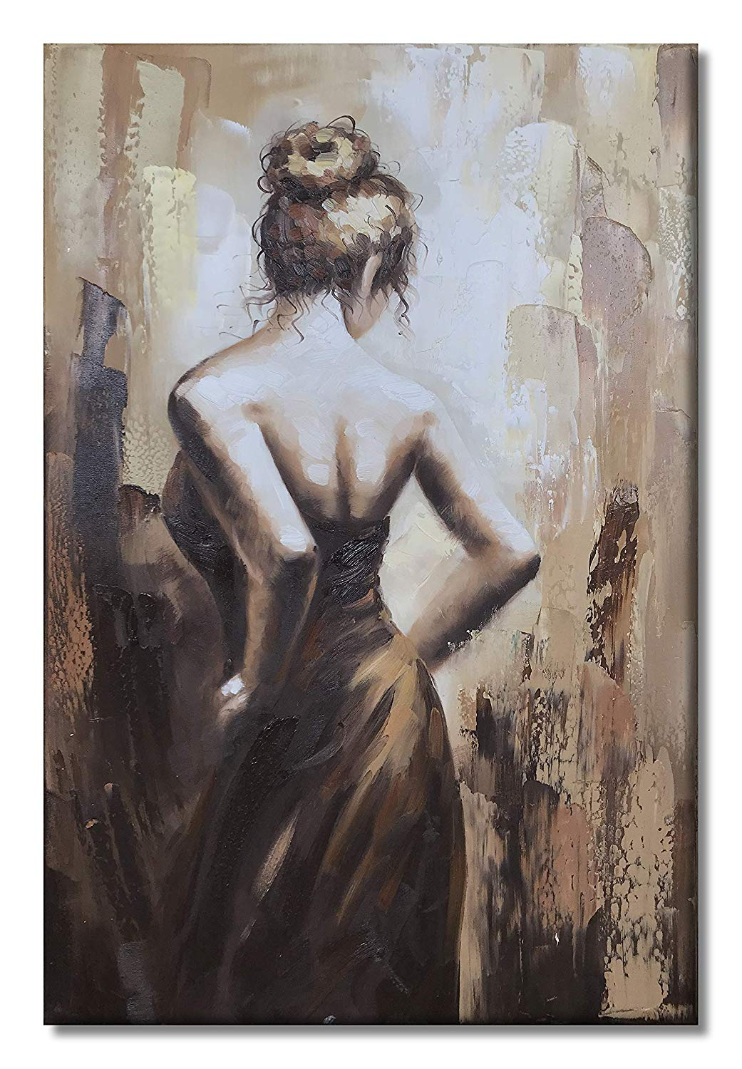 Paimuni Modern Oil Paintings 100% Hand Painted Figurative Lady Canvas Wall Art Stretched and Framed Ready to Hang Home Décor (NG4, 24X36inch)