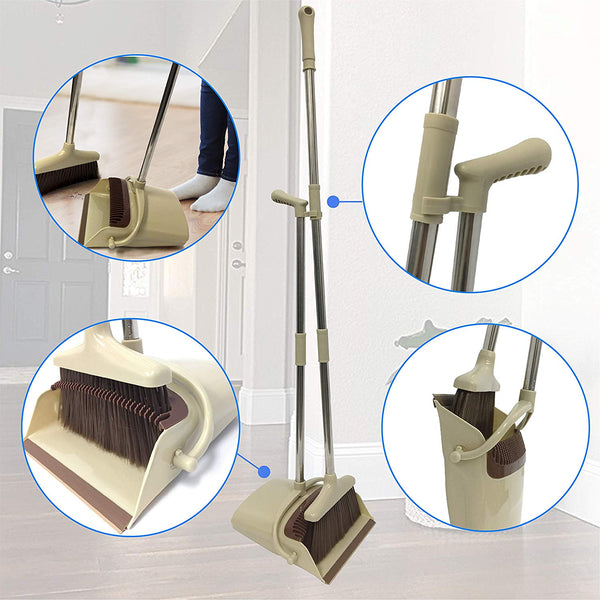 Broom and Dustpan Set, Handheld Broom and Upright Dustpan with Long Handle Extentable and Windproof Dustpan Grips Combo Set