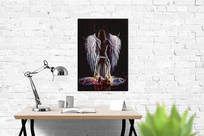 Sexy Naked Angel Wing Abstract Canvas Painting Large Wall Art Beauty Decorative Painting Corridor Wall Painting Simple European Frame Ready to Hang