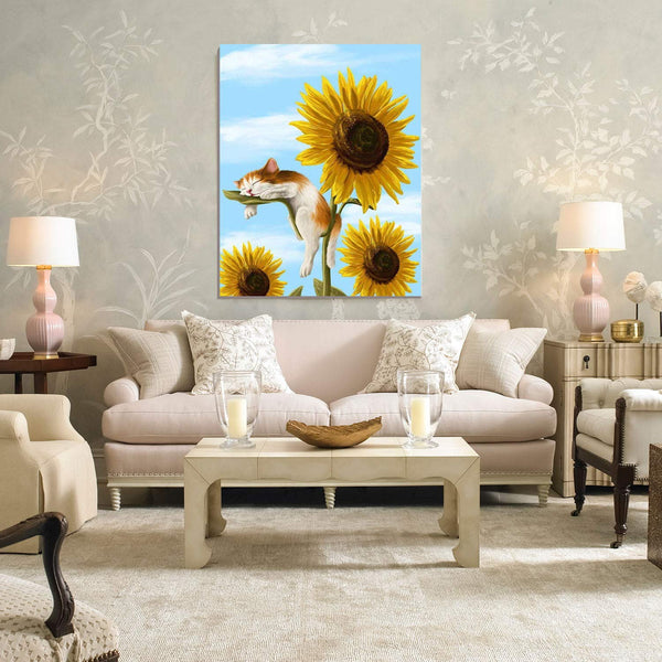 Sleeping cat and Sunflower Pattern oil painting