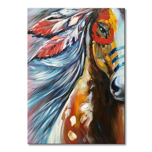 Hand Painted Modern Horse Oil Painting on Canvas Handmade Abstract Animal Wall Art