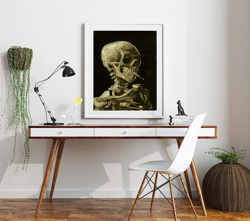 Modern Oil Painting Skull of Skeleton with Burning Cigarette by Vincent Van Gogh Wall Art Van Gogh Art Skull Wall Art Skeleton Wall Art