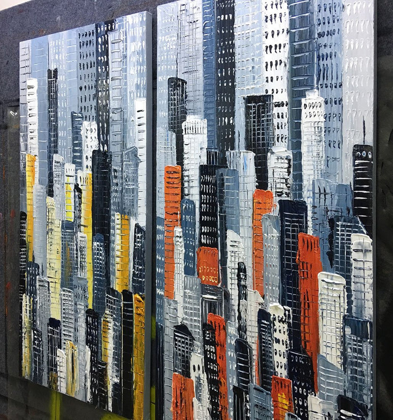 Oil Hand Painting Urban Landscape 3D Hand-Painted On Canvas Abstract Artwork Art Wood Inside Framed Hanging Wall Decoration Abstract Painting