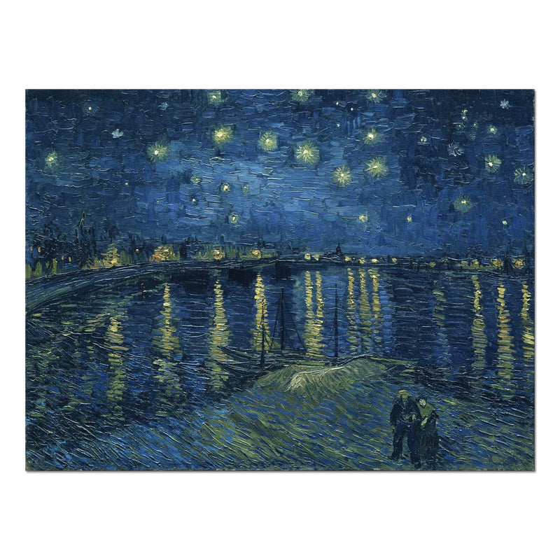 Wieco Art Starry Night Over The Rhone by Van Gogh Classical Oil Paintings Reproduction Large Modern Stretched