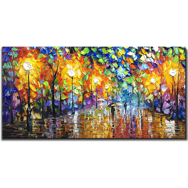 Oil Paintings on Canvas Art 100% Hand-Painted Contemporary Artwork Abstract Artwork Night Rainy Street Wall Art livingroom