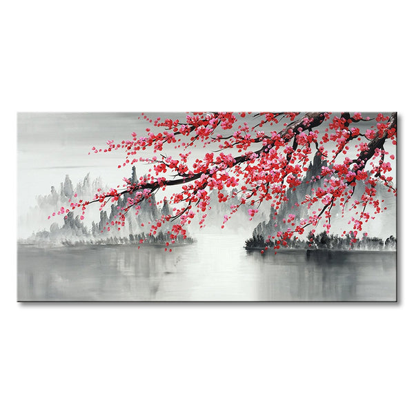 Traditional Chinese Painting Hand Painted Plum Blossom Canvas Wall Art Modern Black and White Landscape Oil Painting for Living Room Bedroom Office Decoration
