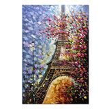 Oil Painting Landscape 3D Hand-Painted On Canvas Abstract Artwork Art Wood Inside Framed Eiffer Tower Pair Wall Decoration Abstract Painting (DF011)