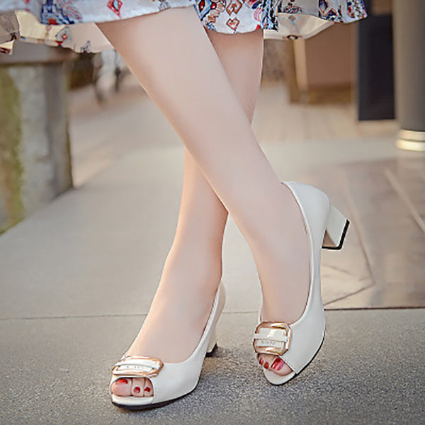 Fish Mouth Sandals Female New Korean Fashion Shoes Thick Roots Casual Sandals