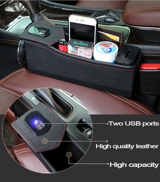 Car Stowing Tidying storage box USB with charging storage box multi-function quilted cup holder car leather coin box