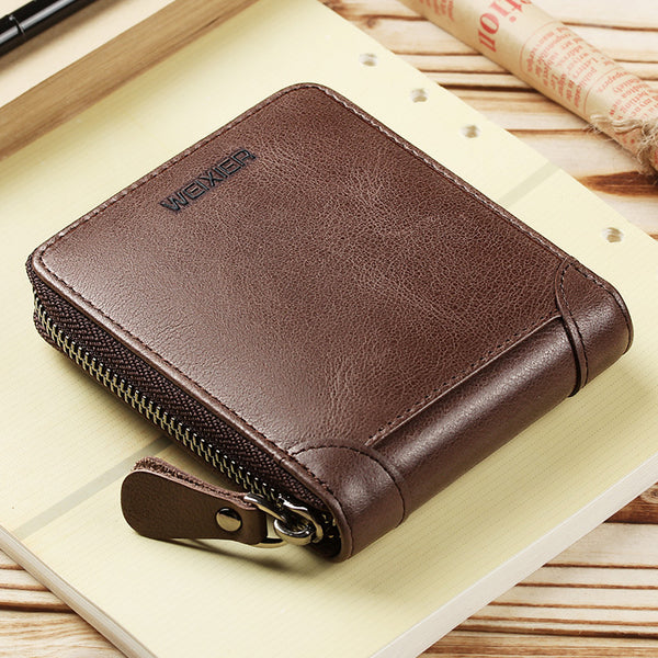 New Genuine Leather Short wallet men zipper top quality men wallets leather purse with coin pocket male wallet purse Cow leather