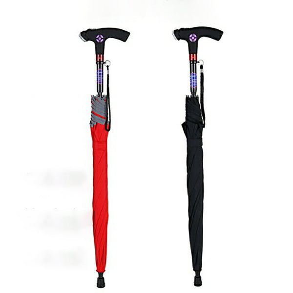 Multi-function Walking Stick umbrella Non-slip Climbing Umbrella Shadesmart Alarm Umbrella Night Flashlight Flash Lamp Radio