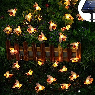 Solar Powered Cute Honey Bee LED String Light 20 LEDs / 30 LEDs Fairy Light Outdoor Garden Fence Patio Christmas Garland Lights