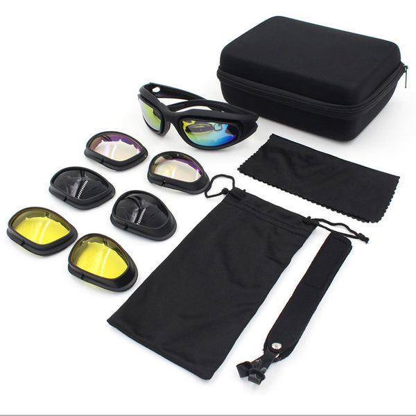 Motorcycle Riding Goggles Sunglasses,  With 4 Lens Kits for Cycling Running Driving Fishing Skiing Golf Baseball Glasses