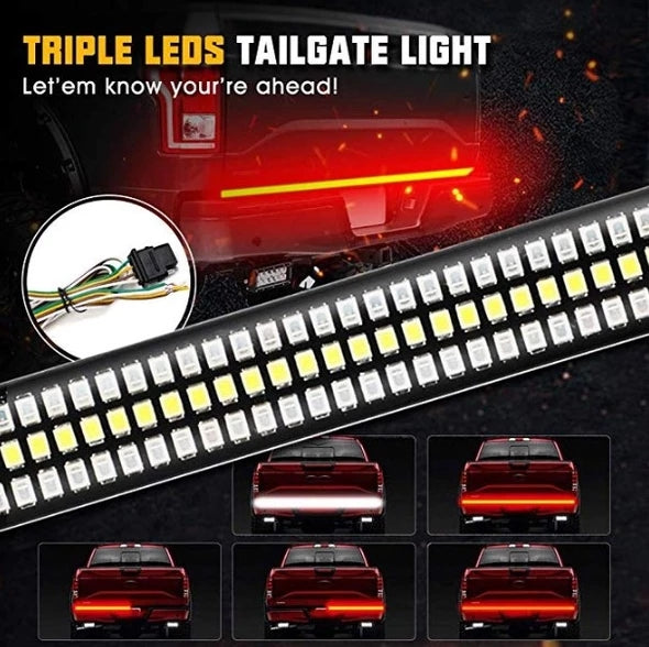 Redline Triple LED Tailgate Light-Solid Turn Signal, Red Brake Running, White Reverse Lights - Free shipping