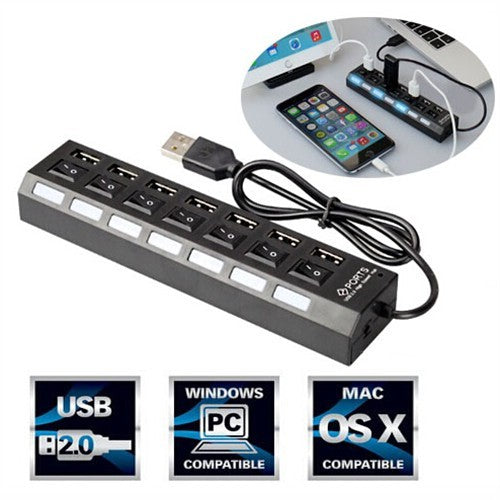 7-Port USB 2.0 Hub With Individual Power Switches