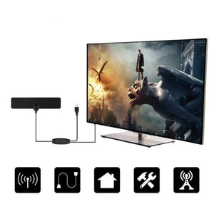 Newest! HDTV Antenna  With Amplifier Signal  Booster Indoor - BLACK