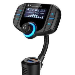 FM Transmitter Bluetooth FM Modulator 2 Port Quick Charge 3.0 Charger Handsfree Car Kit 1.65'' MP3 Player Support Siri