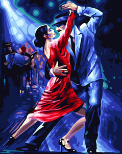 Frameless diy handmade digital drunken tango oil painting