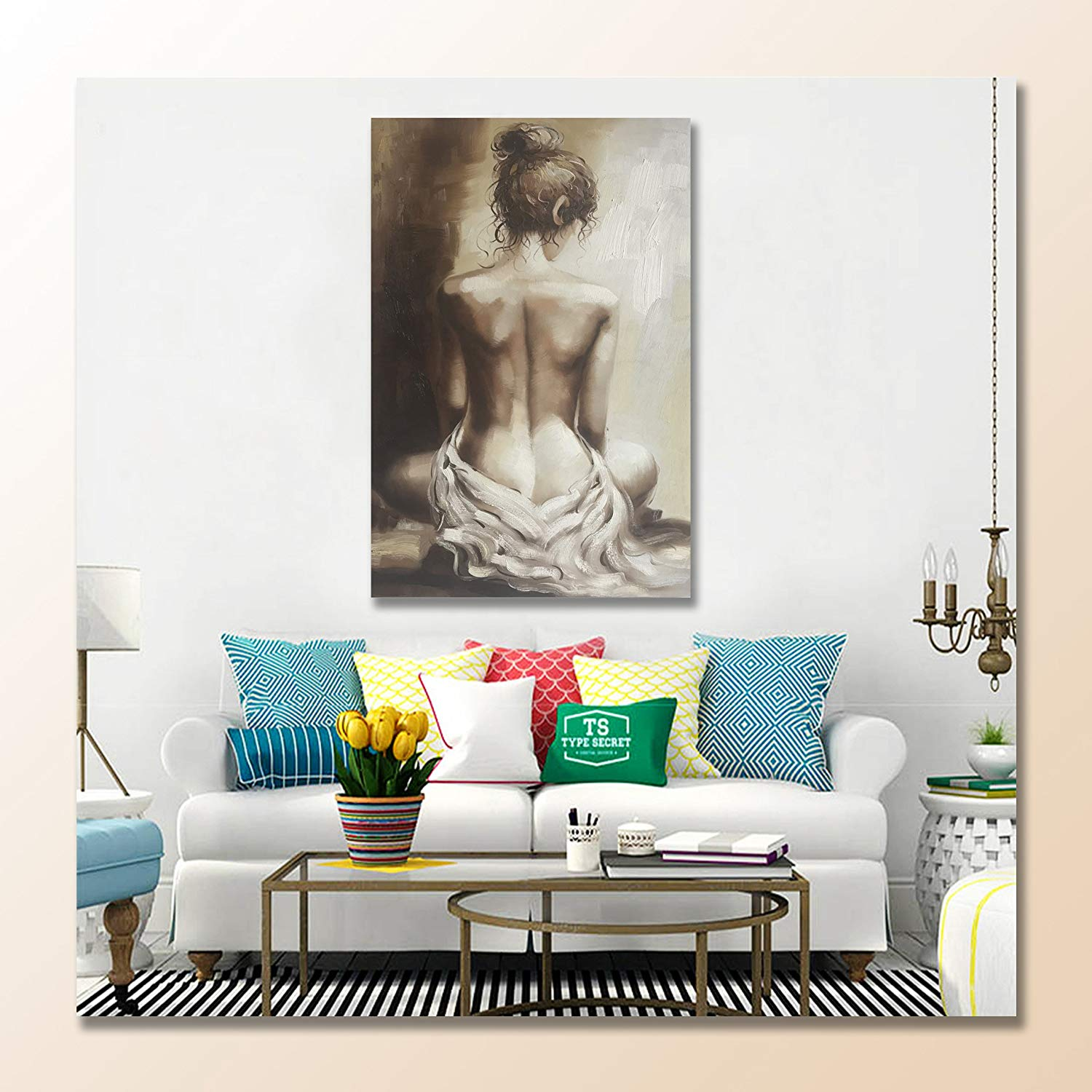 "Modern Oil Paintings 100% Hand Painted Lady Back Figurative Canvas Wall Art Stretched and Framed Ready to Hang Home Decor 24"" x36"""