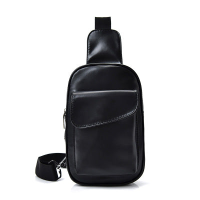 Creative shoulder bag men's chest bag tide retro oil wax leather diagonal package - black