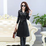 Women New PU Leather Women's Long Section Large Size Jacket Korean Slim Trench Coat