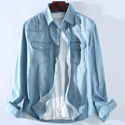 Wooden Buckle Washed Light Blue Denim Men's Cotton Shirt Male Casual Shirt Casual Shirt Coat