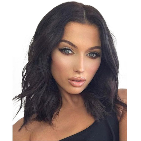 14Inch Wave Heat Resistant Wigs 150% Density Synthetic Lace Fiber Wig