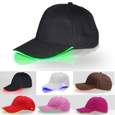 LED Light Flash Headlight Baseball Cap Fashion LED Lighted Glow Club Party Black Fabric Travel Hat Baseball Cap Headlamp